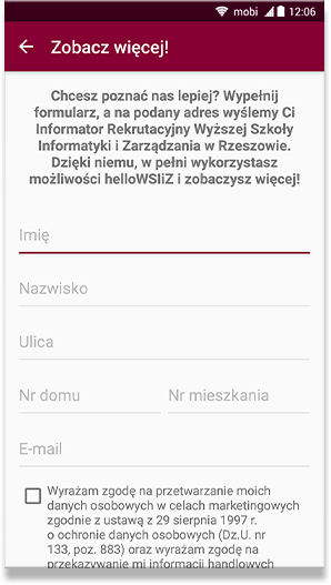 helloWSIiZ - mobile app
